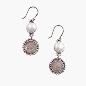 Lucky Brand Druzy Pearl Earrings
